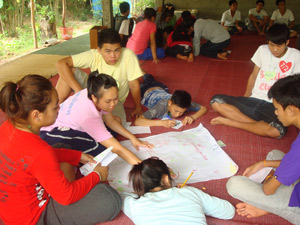 Young people gaining real-life experiences of the importance of ecology at Suanmailao Center.
